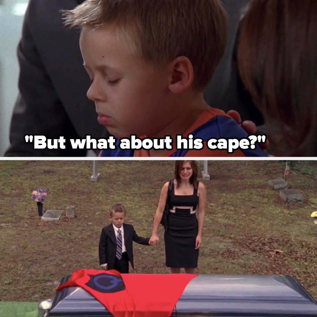 Jamie puts a cape on Quentin's coffin