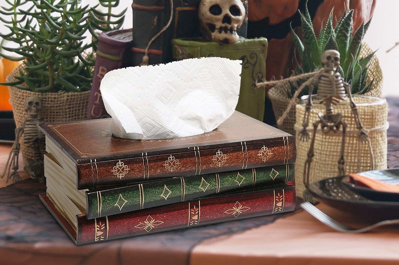 the book stack tissue box holder