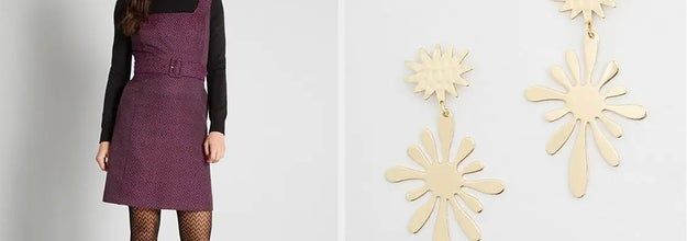 to the left: a mode in a tapered dress, to the right: gold funky earrings