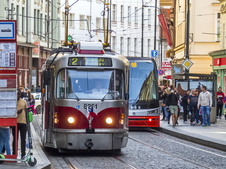 A public transportation tram