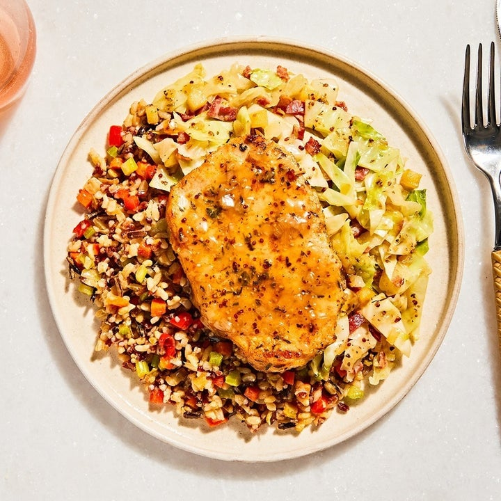 Photo of Freshly Apple-Cherry Pork Chop with Braised Cabbage & Wild Rice Pilaf