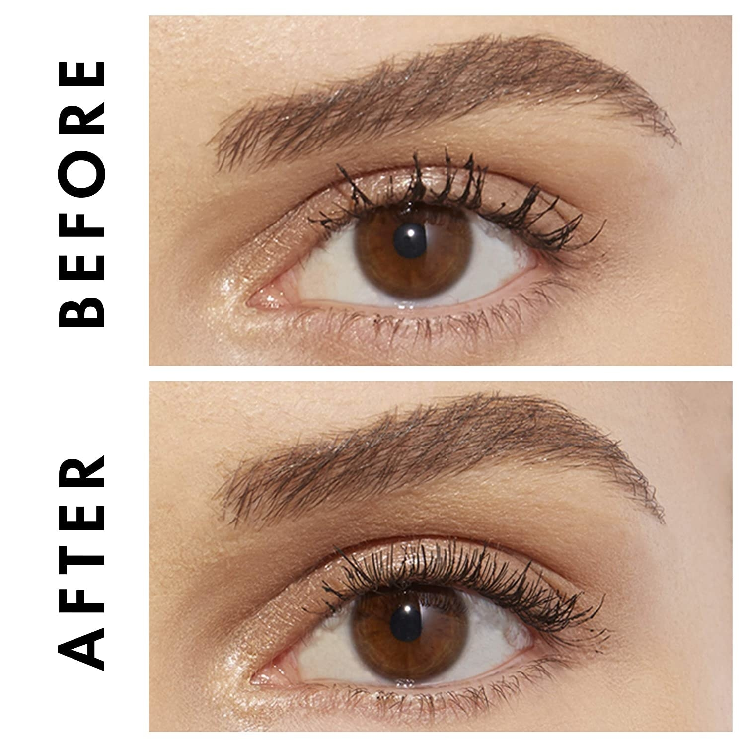Before and after showing the comb brushed out clumps in model's lashes