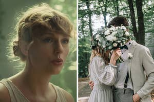 Taylor Swift is on the left with a couple on the right hiding behind a bouquet of flowers