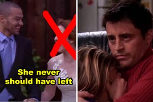 "Jackson and April from Grey's Anatomy with caption ""She never should have left"" and an X over April's face and Joey and Rachel from Friends"