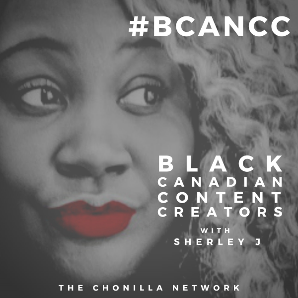 A picture of Sherley J's face with a caption that says Black Canadian Content Creators