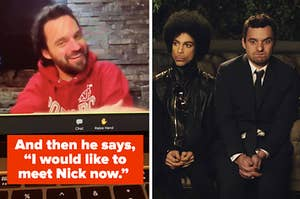 """Jake Johnson saying """"And then he says, 'I would like to meet Nick now'"""" with a picture of Jake as Nick on New Girl next to Prince"""