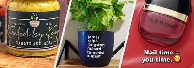 a jar of marinade, a planter with popular literary authors, and a nail polish bottle