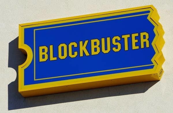 The sign for Blockbuster