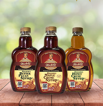 the three bottles of syrup
