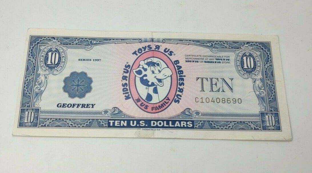"""A $10 Toys """"R"""" Us Geoffrey dollar"""