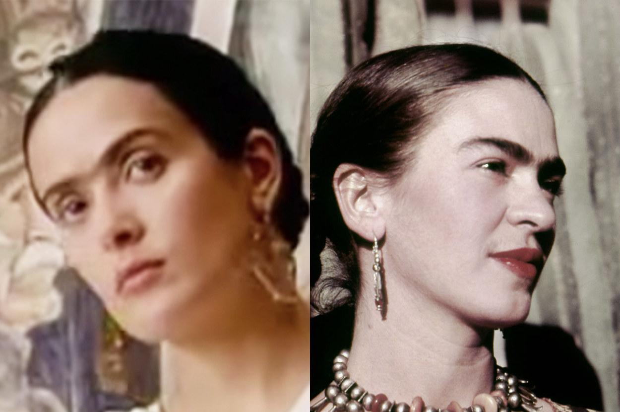 Salma has Frida's trademark unibrow