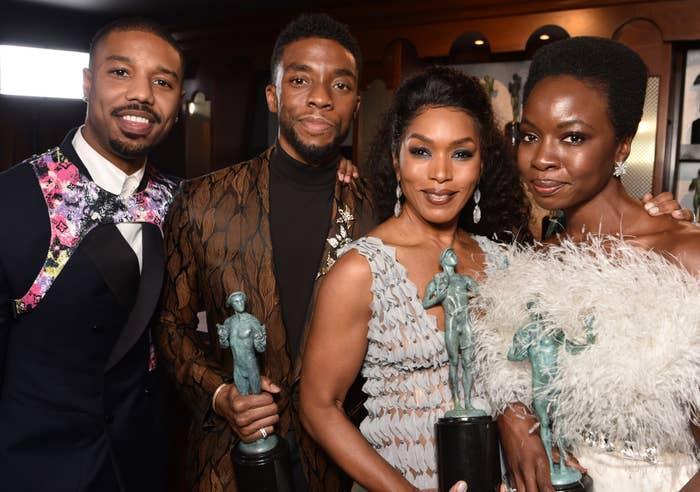 Michael B. Jordan, Chadwick Boseman, Angela Bassett, and Danai Gurira pose at the Screen Actors Guild Awards