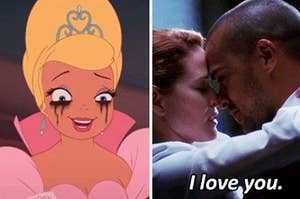 Charlotte from The Princess and the Frog crying with mascara running and April Kepner telling Jackson Avery that she loves him.