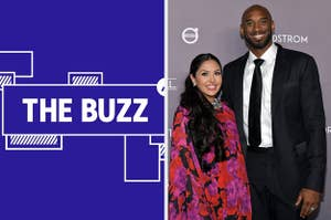 Splitscreen of purple graphic with THE BUZZ in white letters on the left side and a photo of Vanessa and Kobe Bryant on the right side (CREDIT: GETTY)