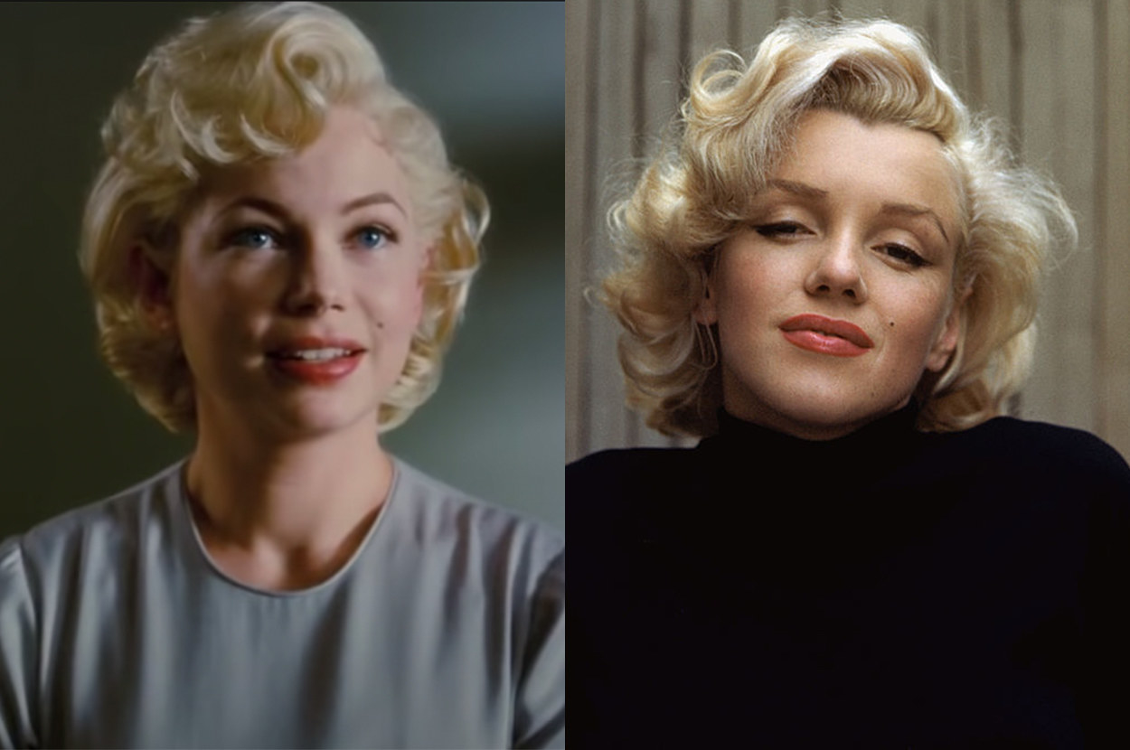 Michelle sports Marilyn's iconic blonde hairstyle and beauty mark