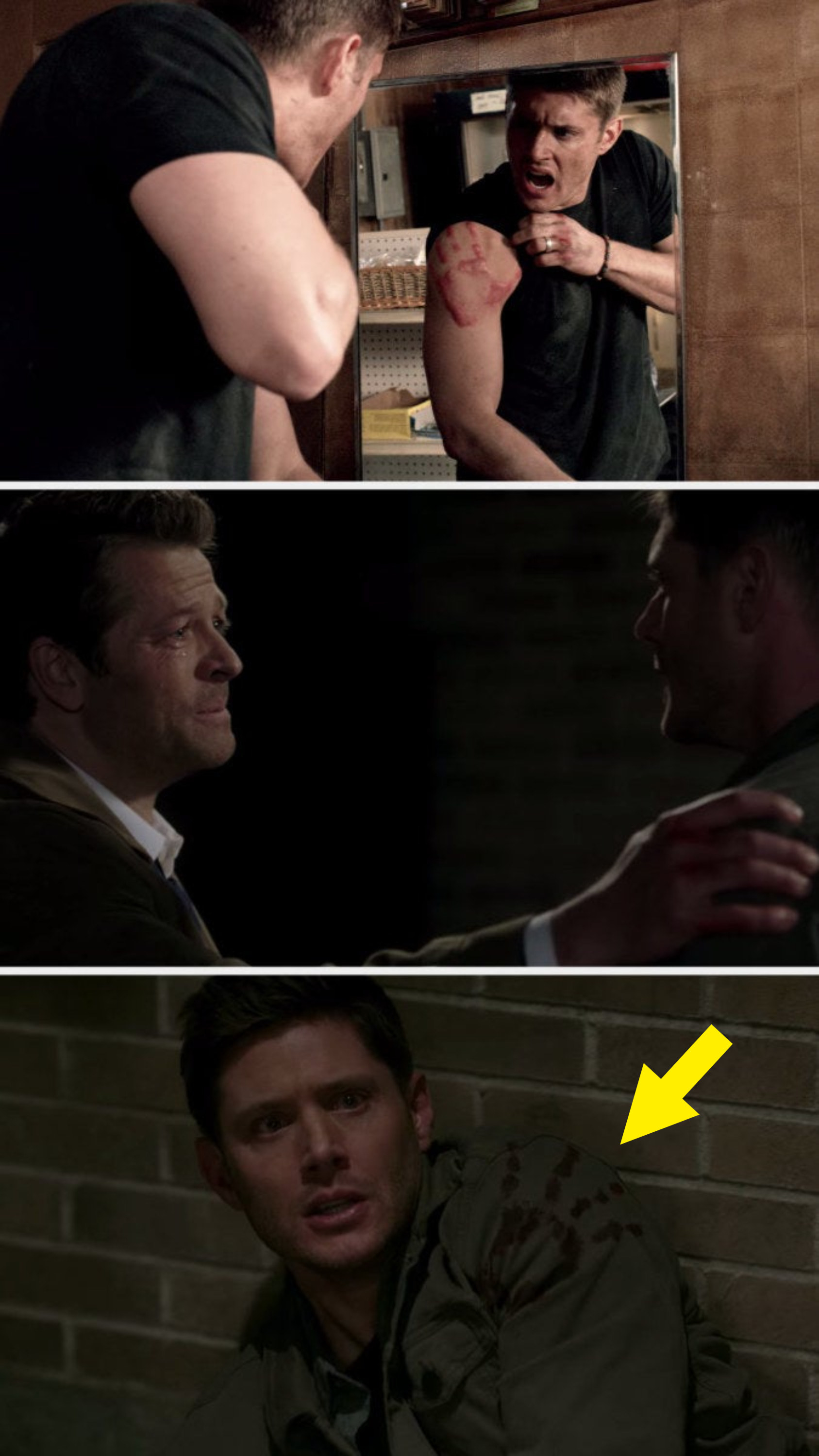 Dean has a hand print on the same shoulder twice