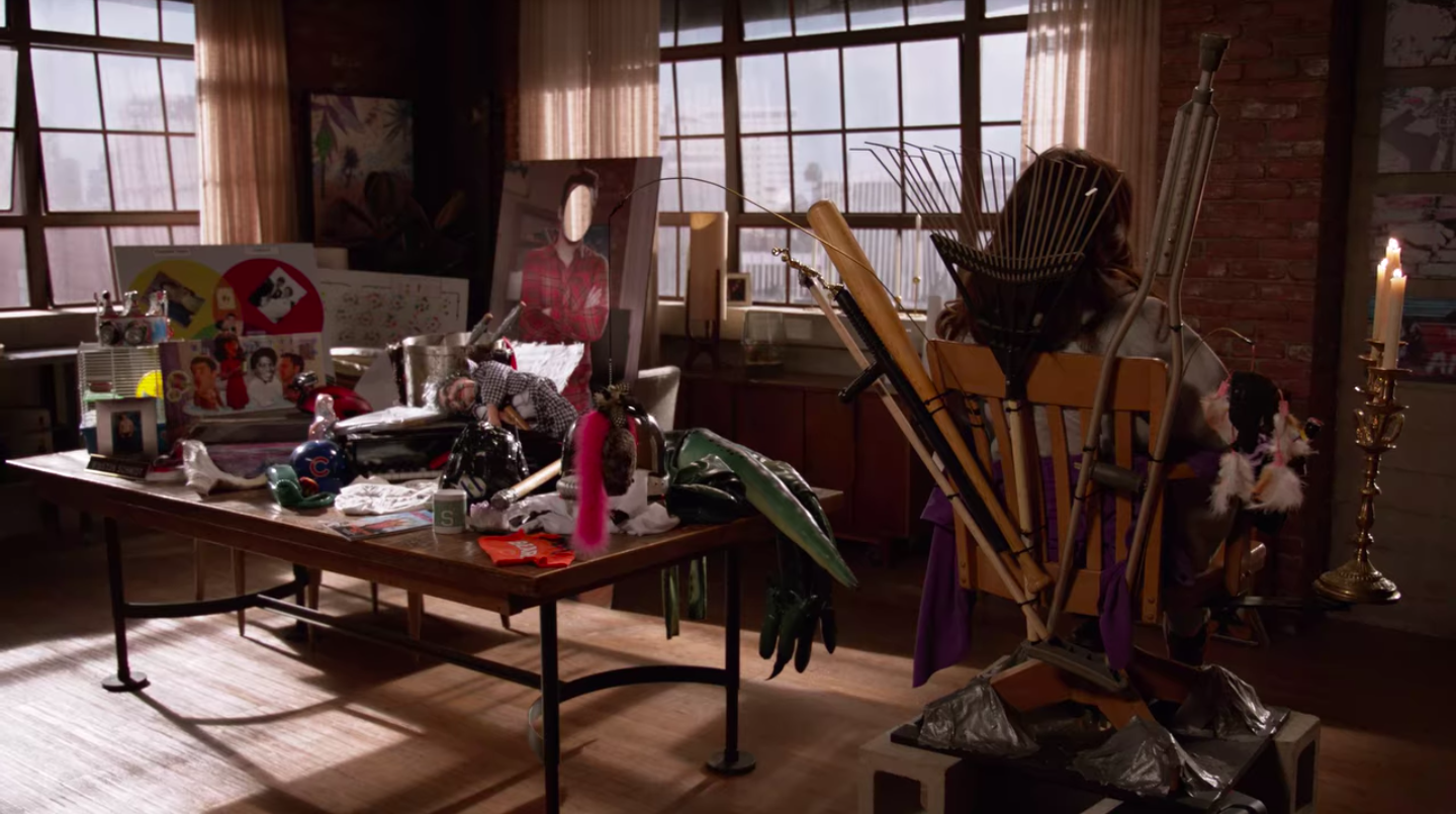 """A bunch of things in the dining area of the """"new Girl"""" loft"""