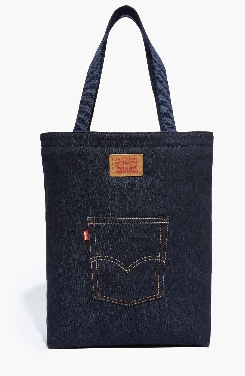 denim tote bag with a levi's pocket on the back