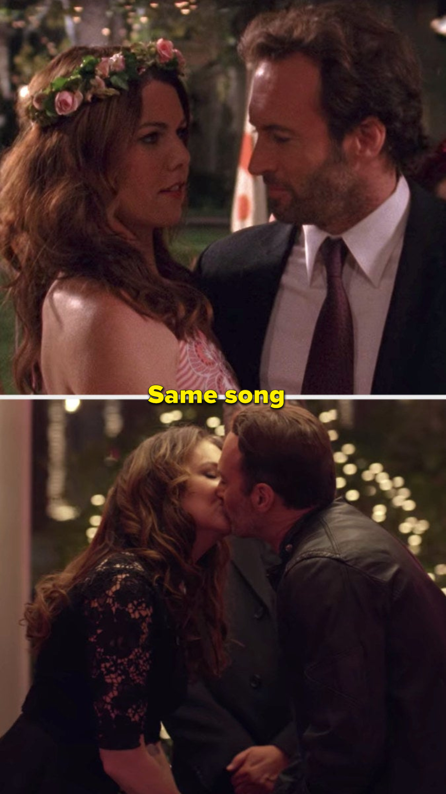 The same places when Lorelai and Luke dance and at their wedding