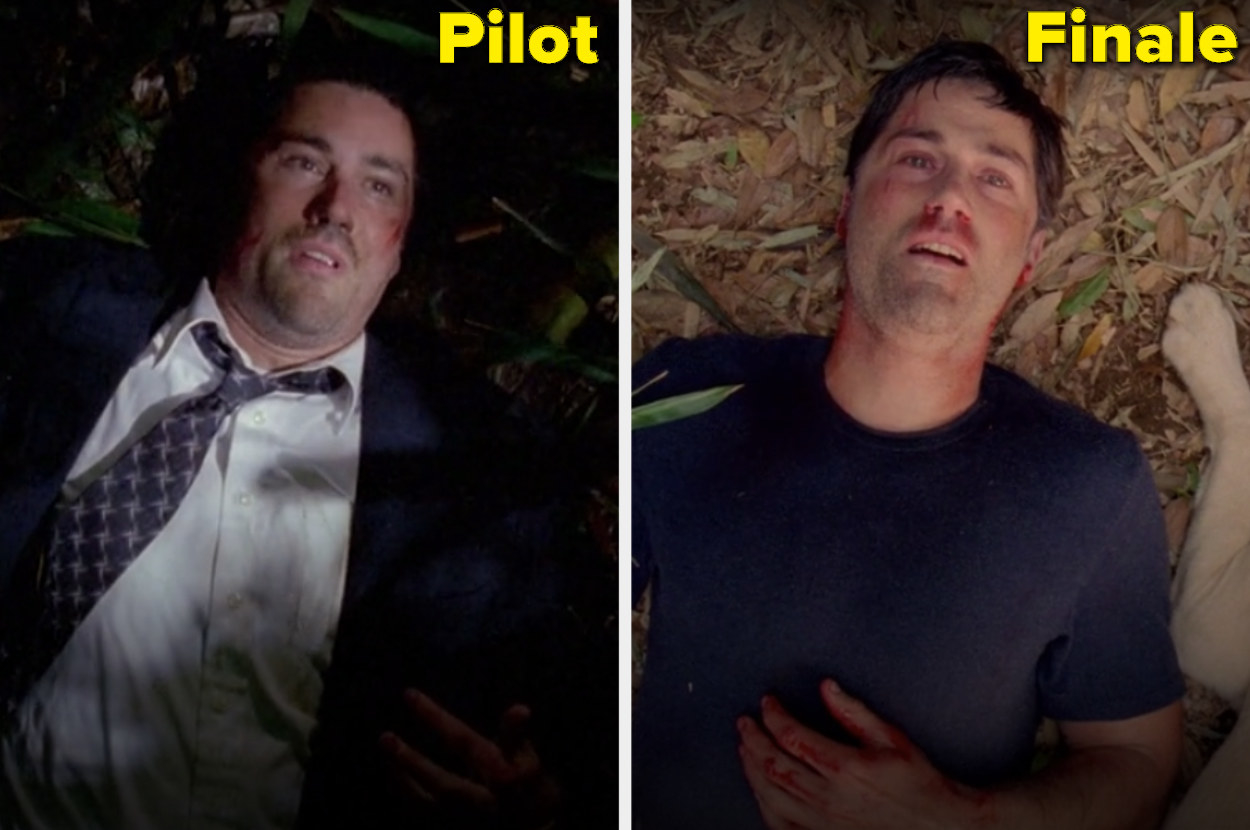 Jack lying on the ground in the pilot and the finale