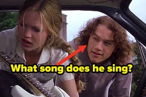 """Julia Stiles as Katarina """"Kat"""" Stratford and Heath Ledger as Patrick Verona in the movie """"10 Things I Hate About You."""""""