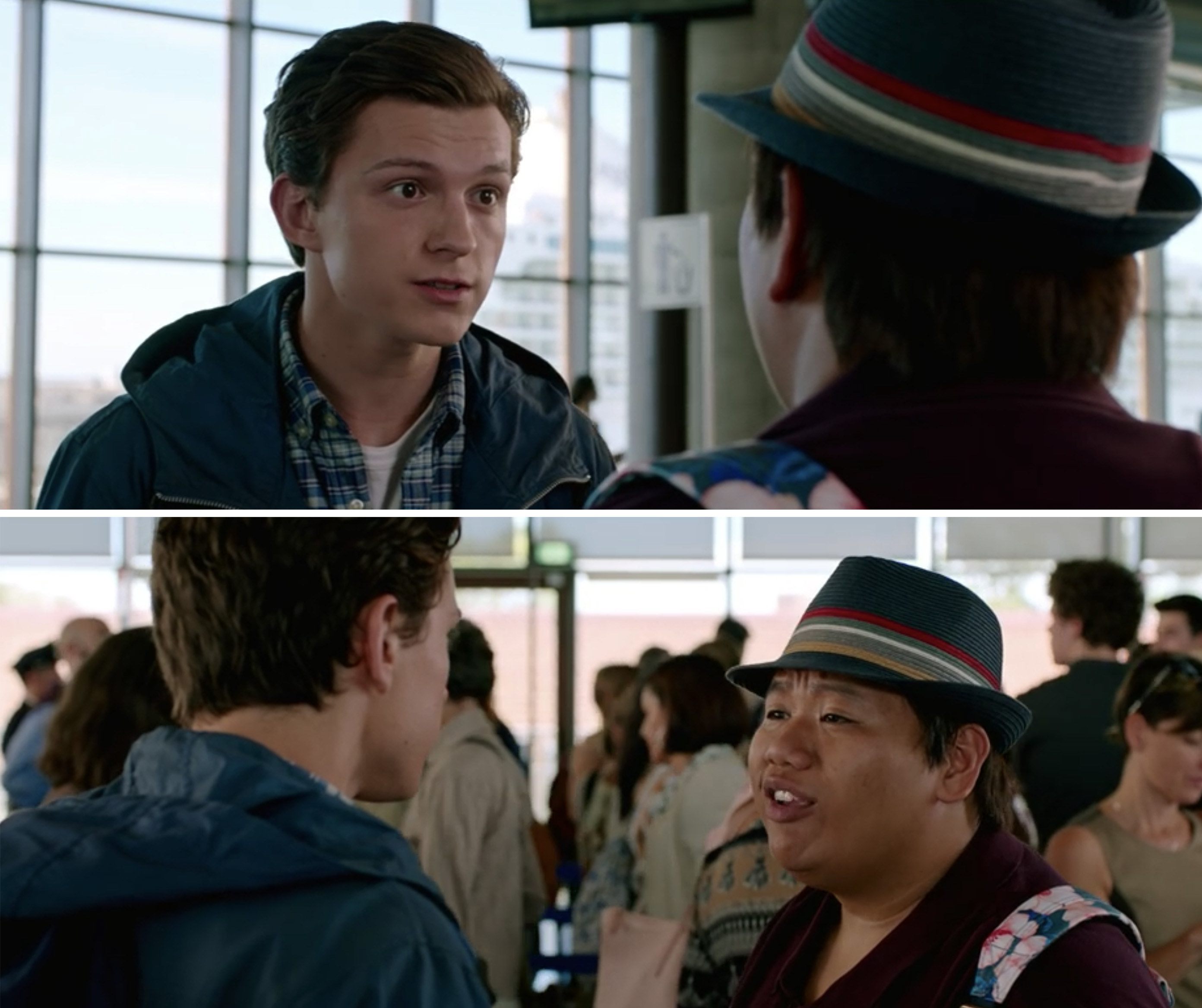 """Peter and Ned talking in the airport in """"Spider-Man: Far From Home"""""""