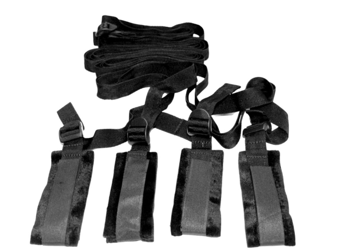 A bed restraint kit in black