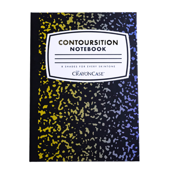 The front of the palette, which looks like a classic composition notebook and reads