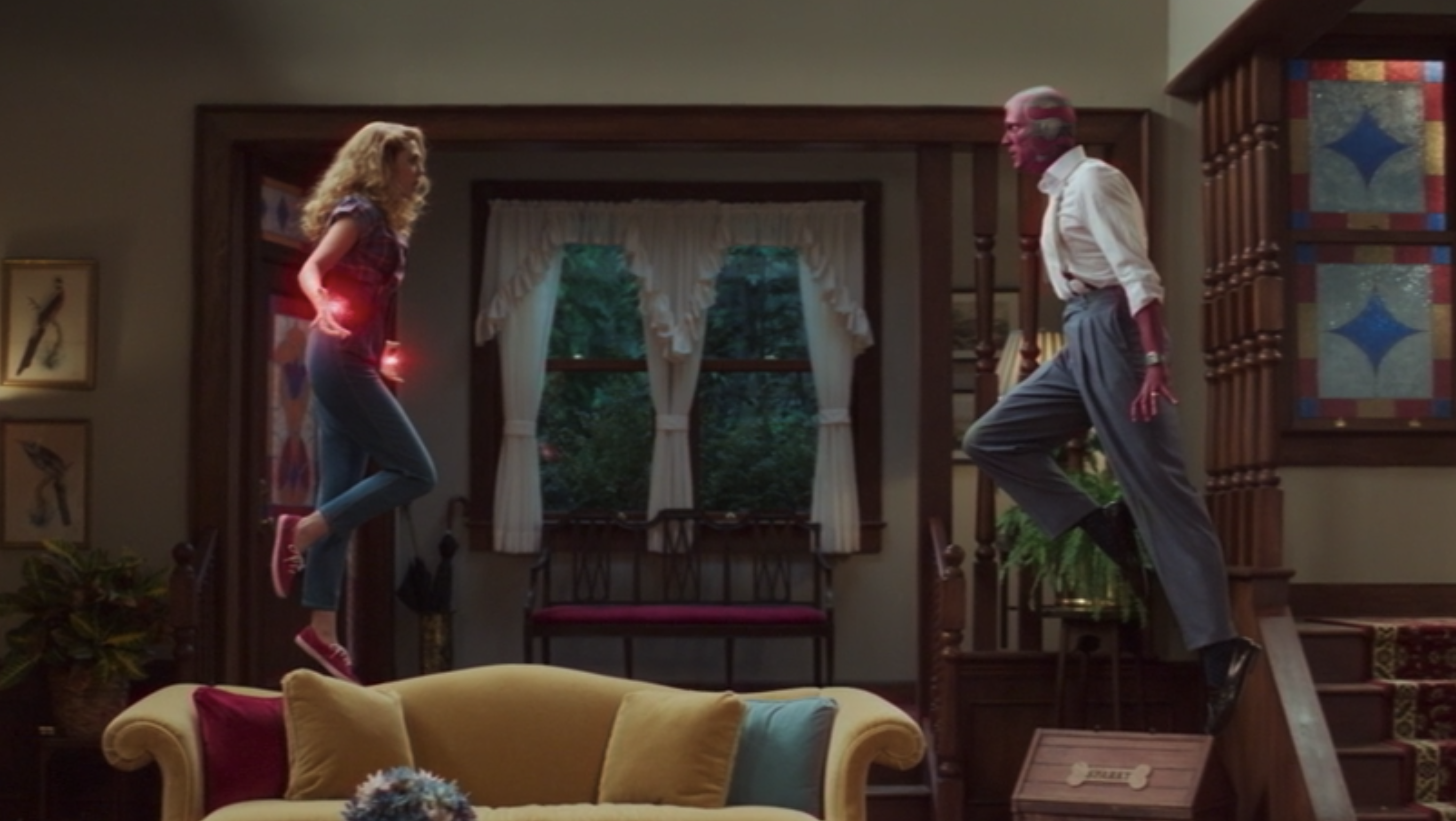 """Wanda and Vision flying in their living room in """"WandaVision"""""""