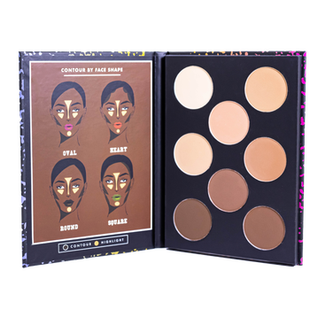 The inside of the palette, with eight shades of contour and highlight and a diagram showing how and where to use them for different face shapes