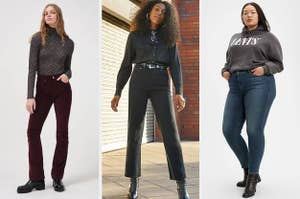 corduroy jeans on the left, black high waisted jeans in the middle, and blue jeans on the right
