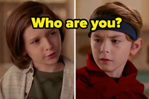 """Two twin boys face each other while one is wearing a headband and the other with long hair and a caption that reads: """"Who are you?"""""""