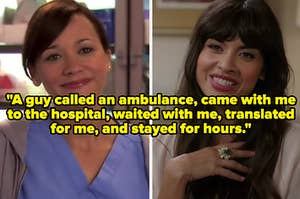 """""""A guy called an ambulance, came with me to the hospital, waited with me, translated for me, and stayed for hours"""" over two smiling women"""