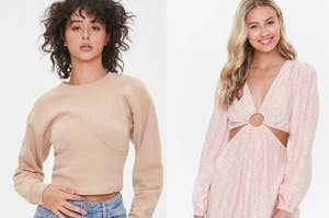 model in a bustier sweatshirt and model in a pink cutout floral dress