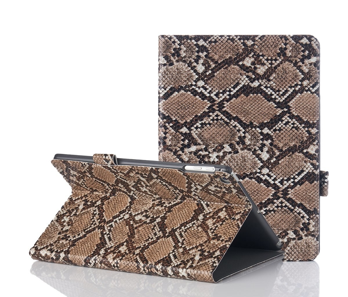 the brown snakeskin case shown closed around an ipad and folded to serve as a stand for a horizontal iPad