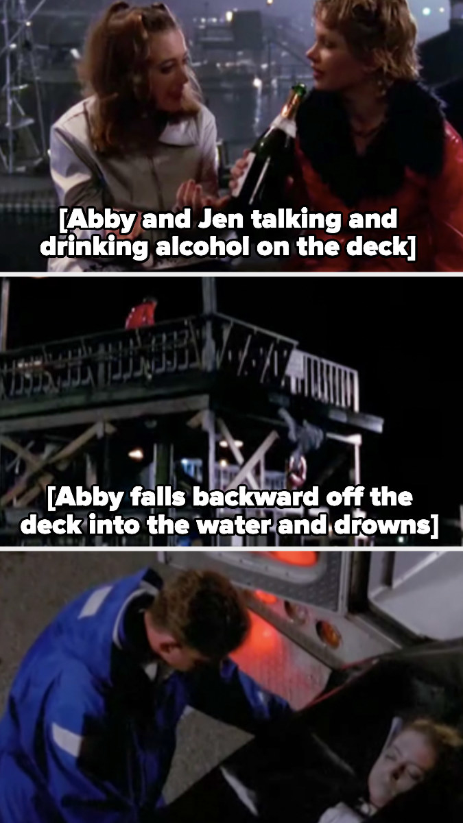 Abby falls off the deck into the water and dies