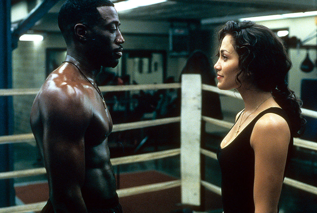 "Lopez and Snipes in a boxing ring together in their movie ""Money Train"" in the mid-'90s"