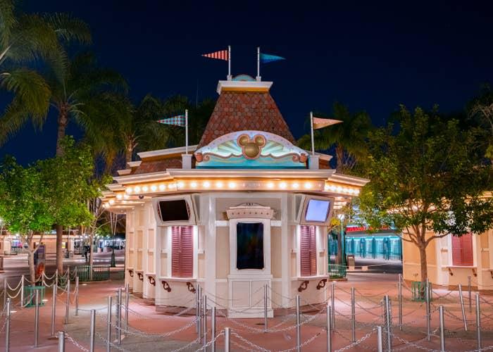 Empty ticketing booth at Disneyland Resort