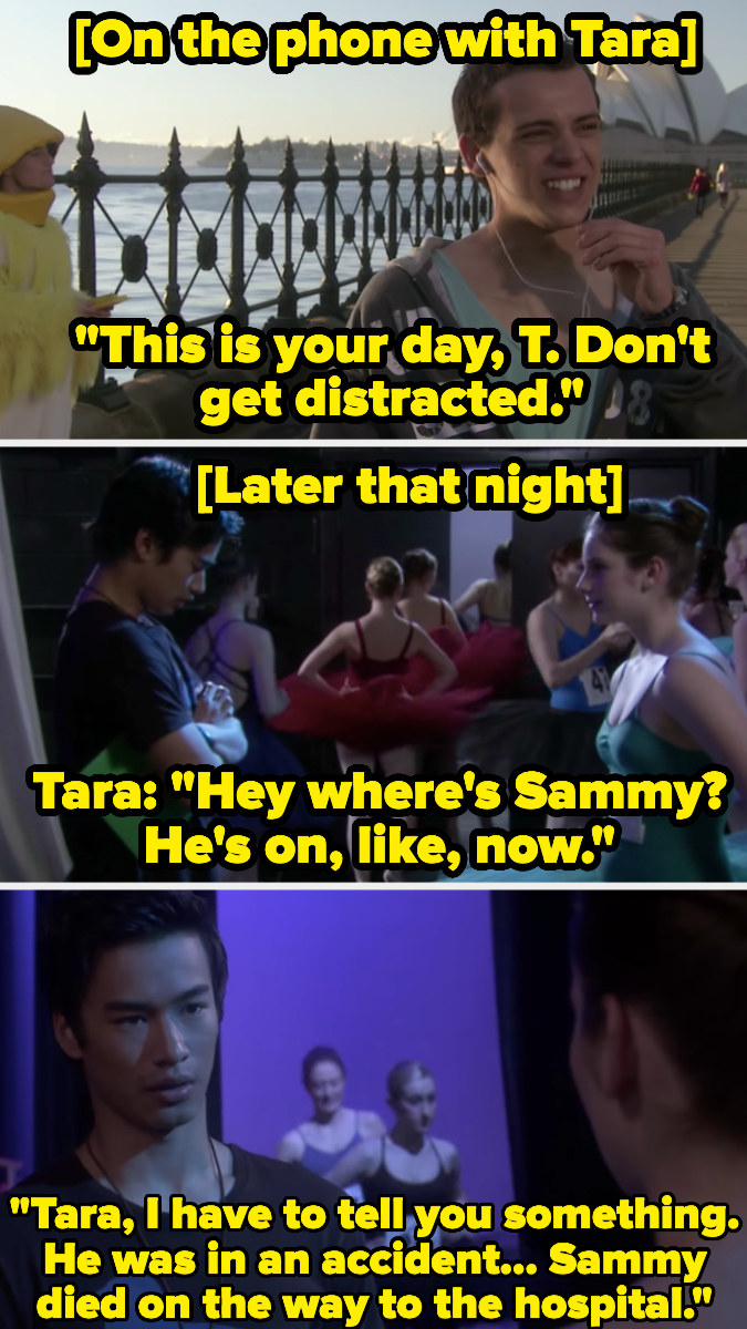 Sammy calling Tara right before he dies. Christian telling Tara later that night that Sammy died.