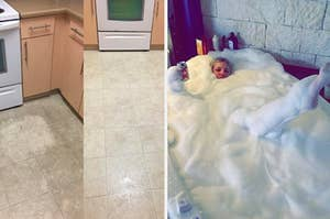 A dirty floor that was cleaned with a power scrubber / A reviewer in a lavender bath