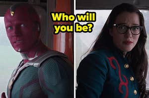 "Paul Bettany as Vision and Kat Dennings as Darcy Lewis in the show ""WandaVision."""
