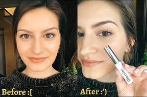 BuzzFeed Shopping editor showing the before-and-after of her eyebrows looking more filled in and defined