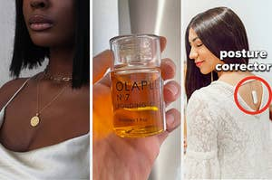A fancy necklace, olaplex hair oil, and a posture correcting device