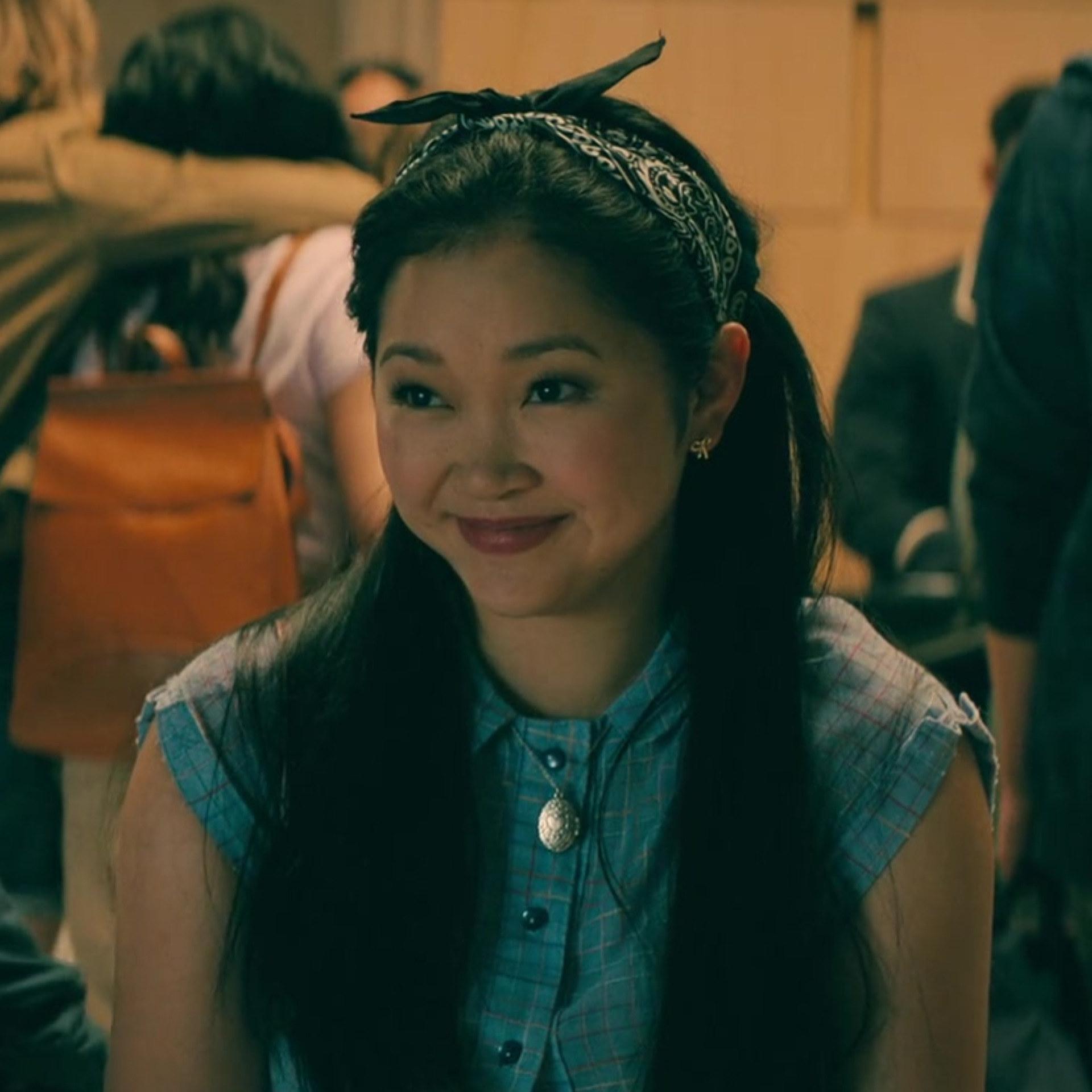 Lara Jean in denim top and bandana headband