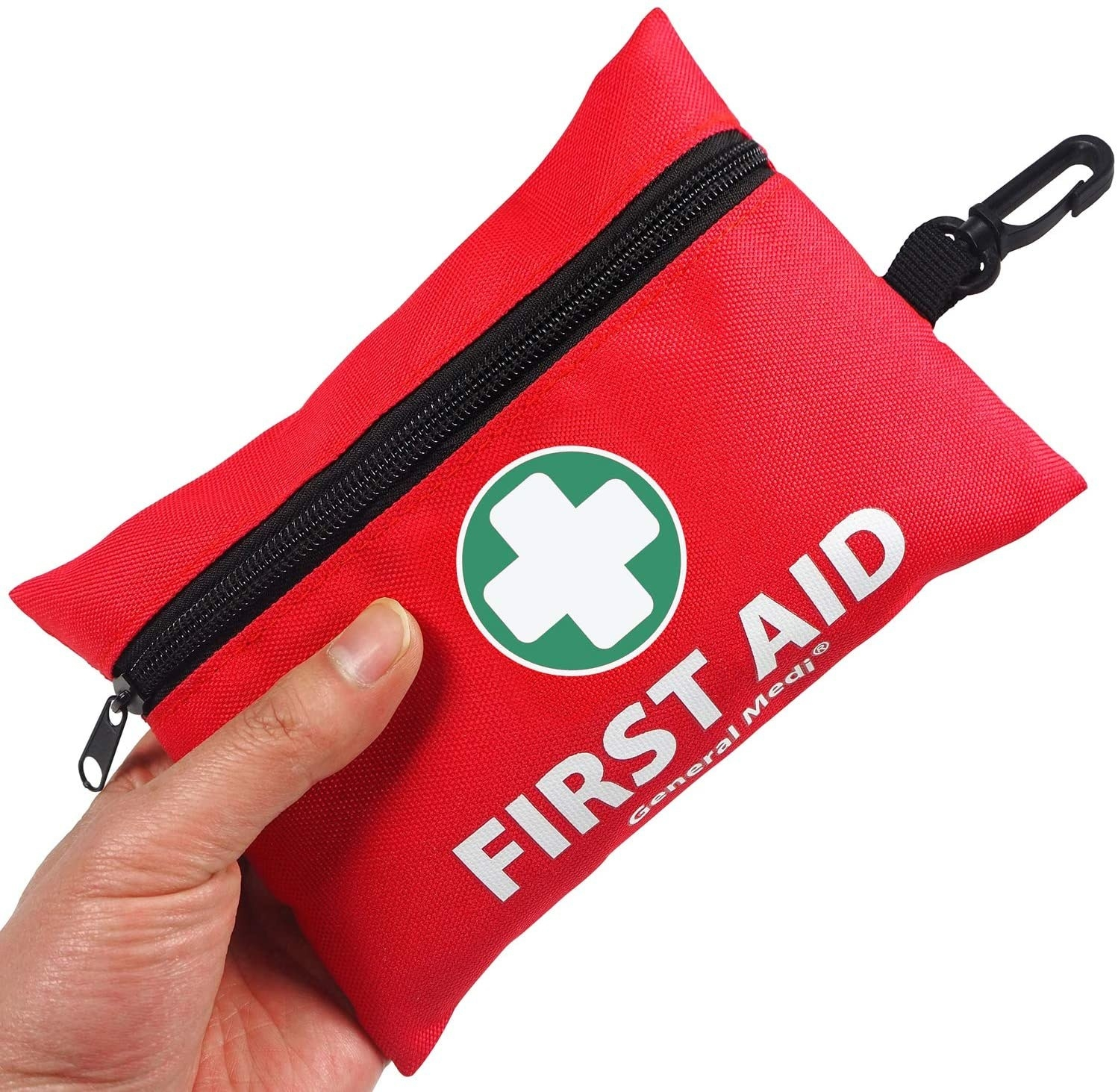 A hand with the first aid kit in a zip-pack