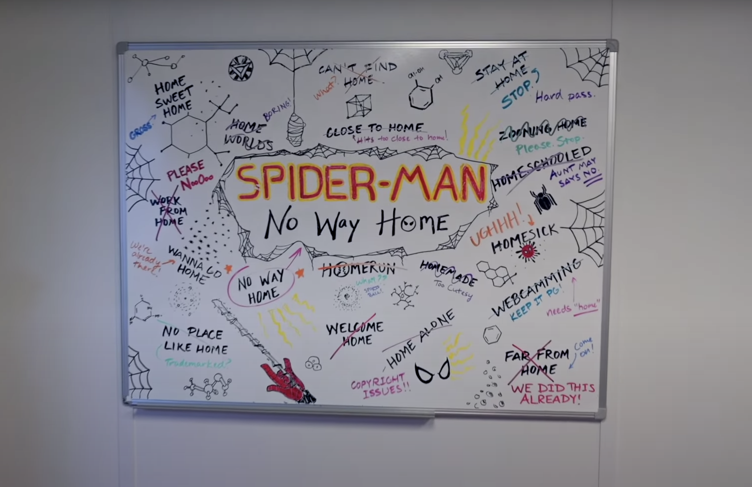"A whiteboard with doodles and names and in the center it says, ""Spider-Man: No Way Home"""