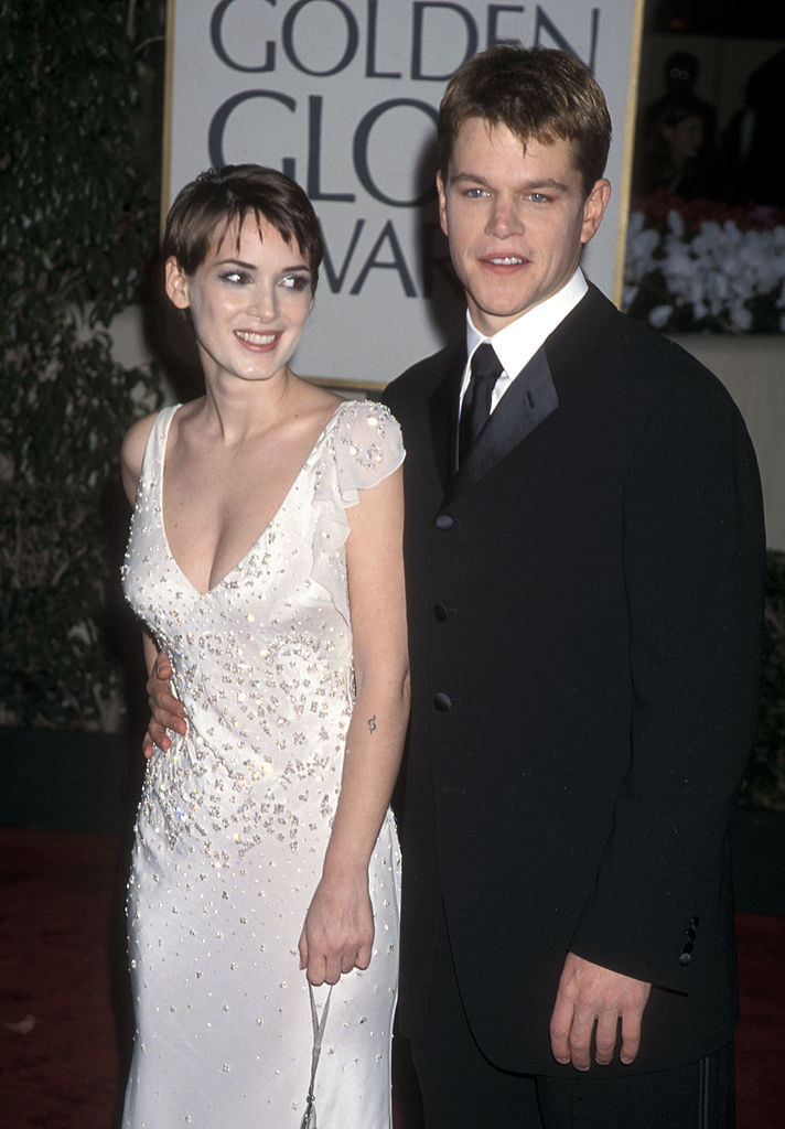 Ryder and Damon at the Golden Globes awards, 2000