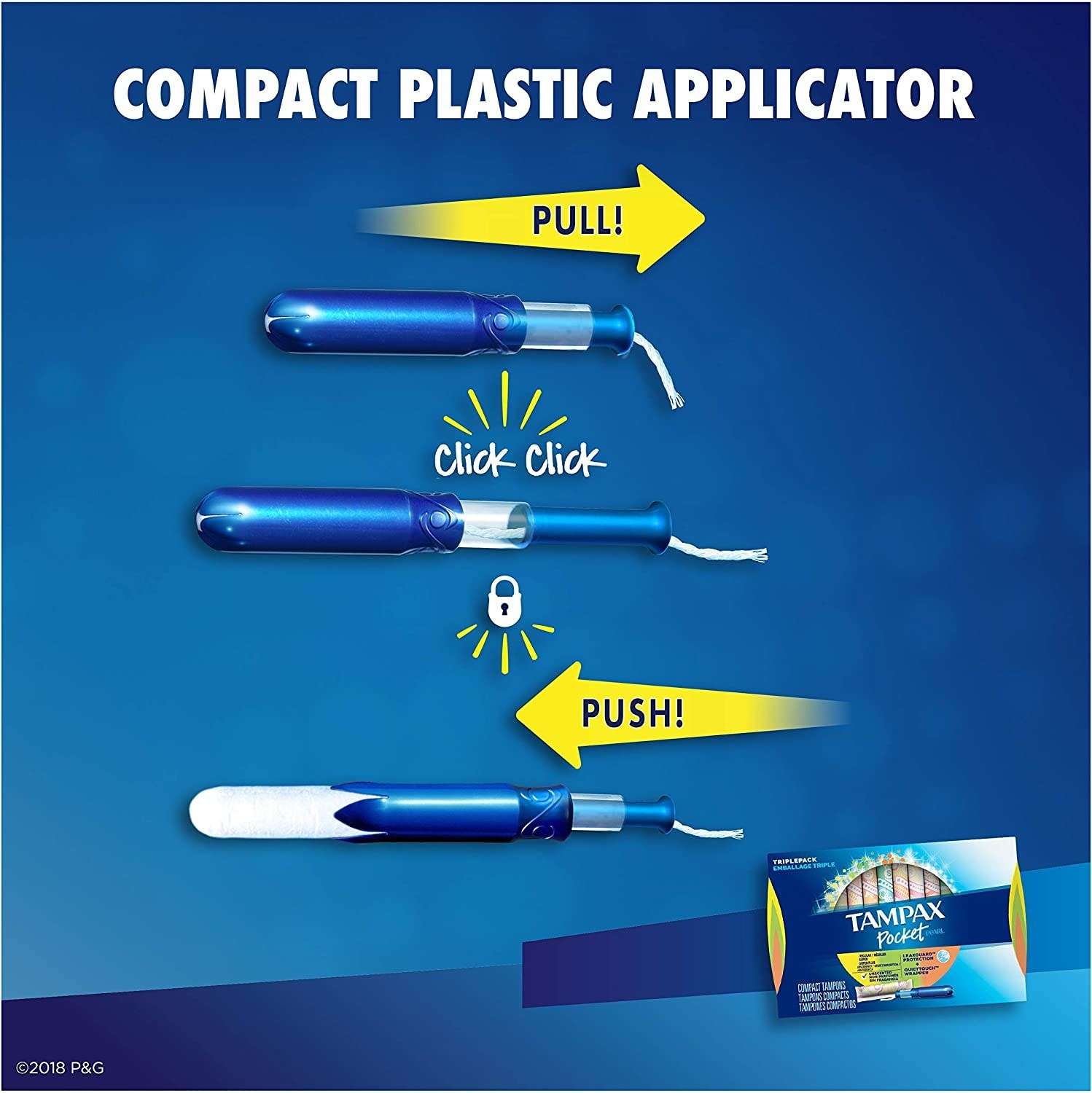A diagram showing how to use the compact applicator: extend the applicator until you hear a click, then insert as usual
