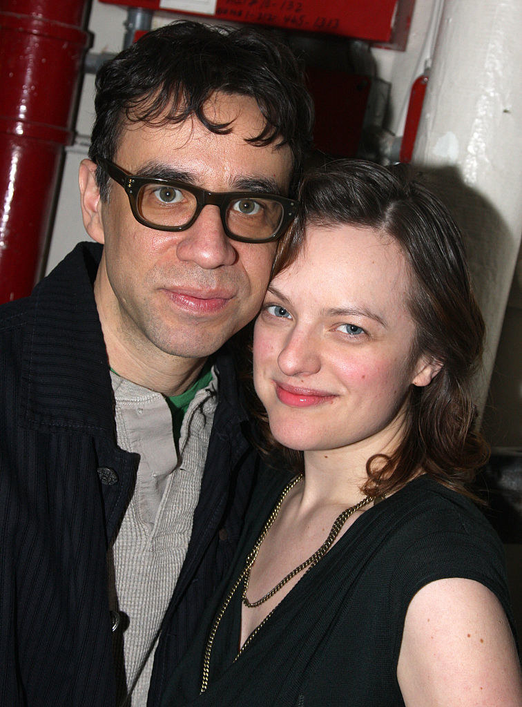 "Fred Armisen and Elisabeth Moss backstage together at ""Speed the Plow"" on Broadway, late 2000s"