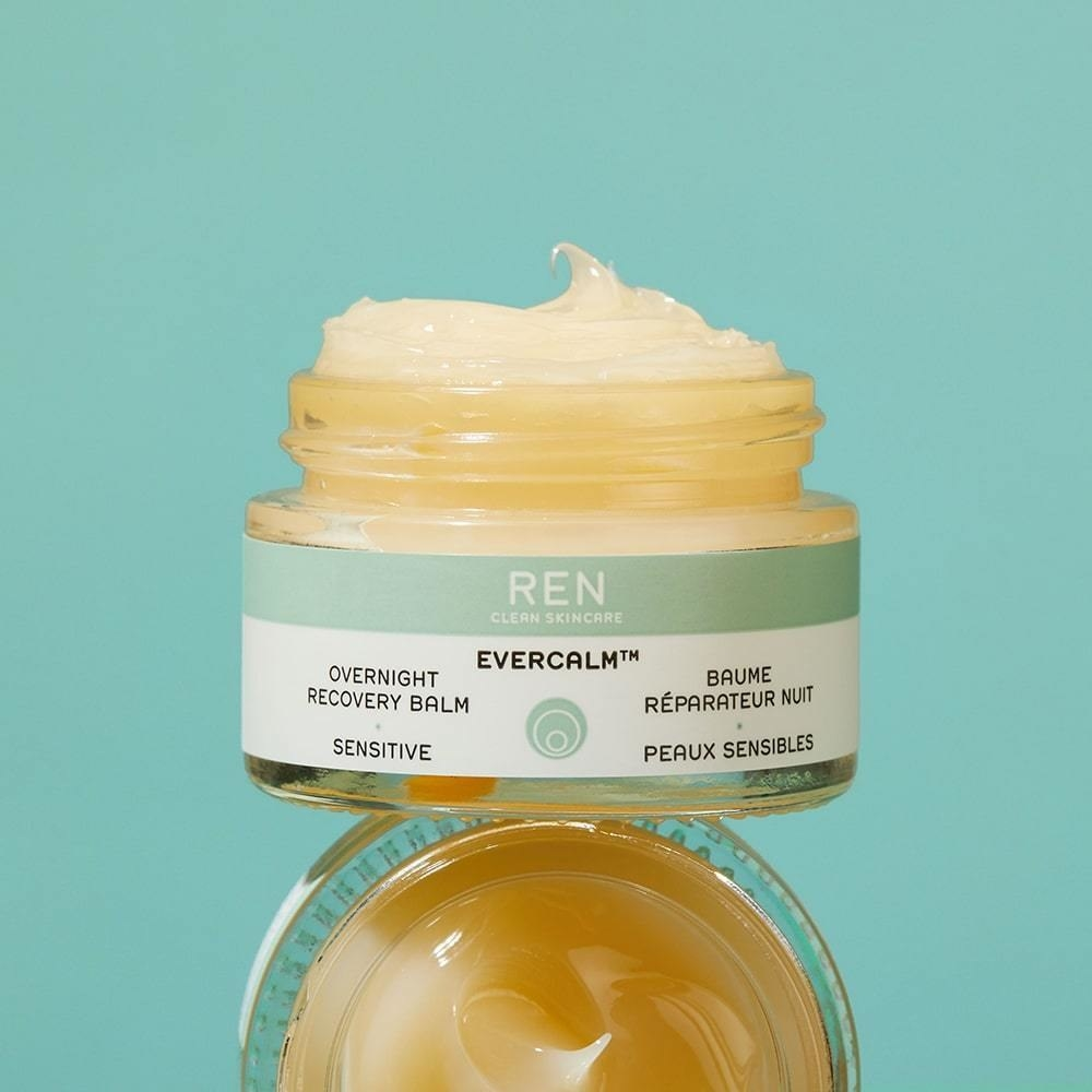 stacked green and clear jars of Ren Clean Skincare Evercalm